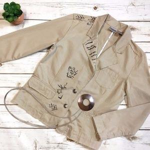 Chico's Cream Beige Asymmetrical Styled Jacket